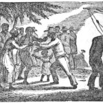 An 1835 illustration of liberated slaves arriving in Sierra Leone.